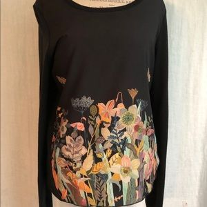Anthropologie painted polyester/cotton sweater.